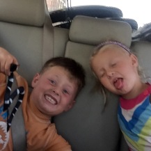 Carver and Greta making funny faces for God...