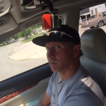 Daddy with the Go-Pro clipped onto the sunroof above his head...