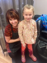 Greta at a recent appointment with Candy Long