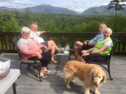 Puppy Brie enjoying the mountain view with her parents and in laws