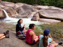 Writing by waterfalls.
