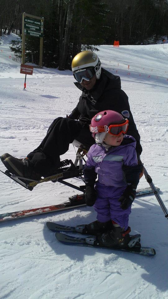 Greta skiing